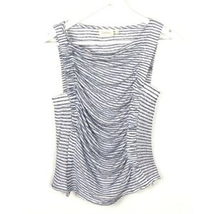 Deletta Blue White Striped Linen Top Ruched Sz S